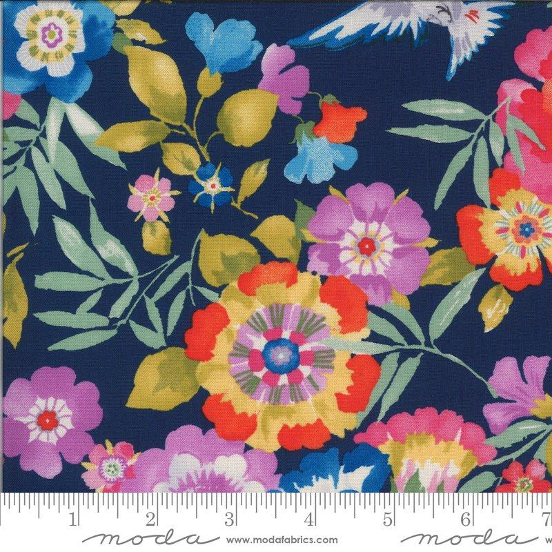 Moda Lulu Main Floral and Birds - Navy/Multi