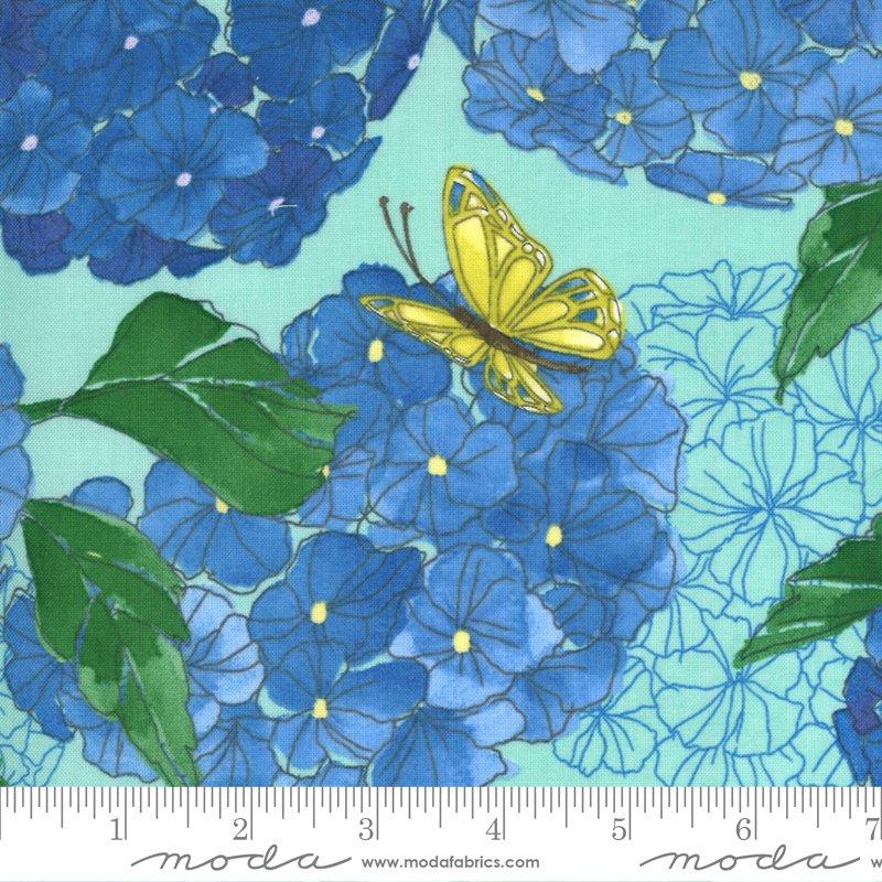 Moda Cottage Bleu Hydrangeas Floral - Dewdrop