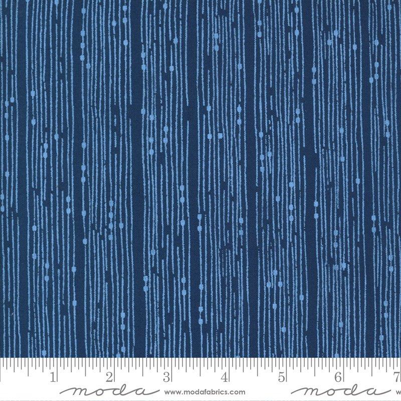 Moda Cottage Bleu Broken Lines Stripe - Midnight