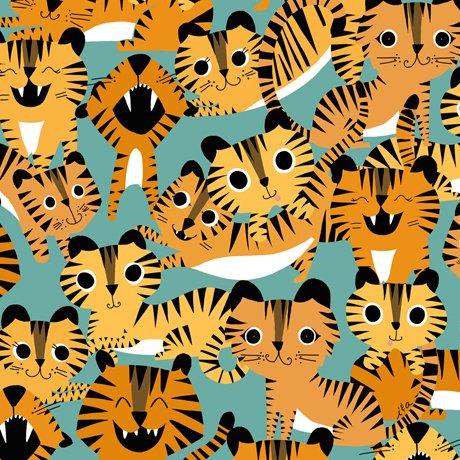Quilting Treasures Tiger Tails Tigers - Aqua