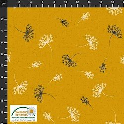 Stof Birds on the Move Dandelion Bursts - Mustard