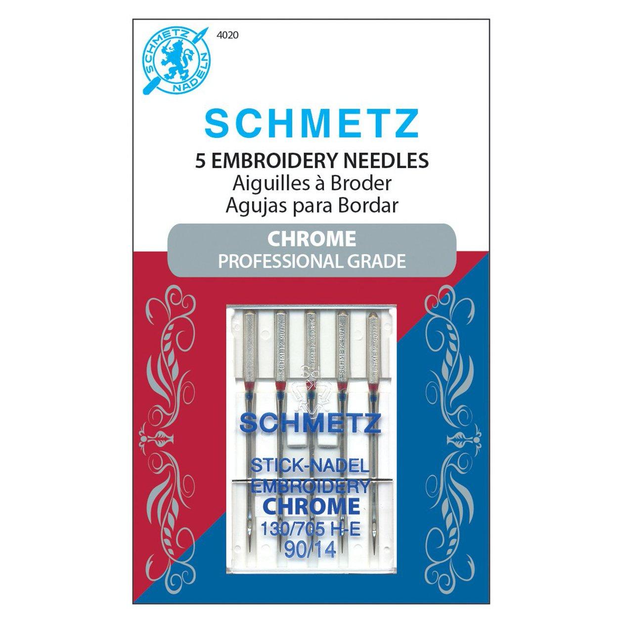 Schmetz Machine Needles Chrome Embroidery - Size 90/14