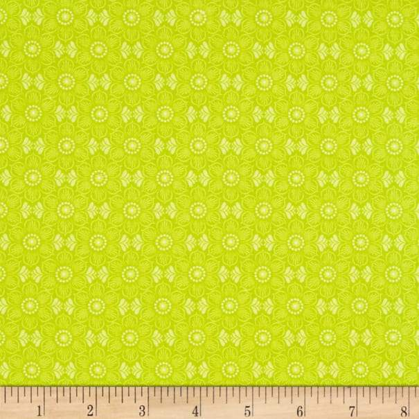 Wilmington Feathers & Foliage Floral - Lime (Min. order of 1 metre)