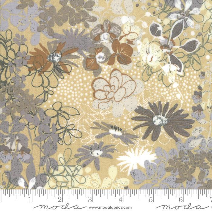 Moda Stiletto Floral - Cashew (0.4m Remnant)