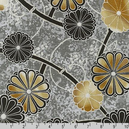 Robert Kaufman Moonlight Garden Flowers - Grey (Metallic) (0.4m remnant)