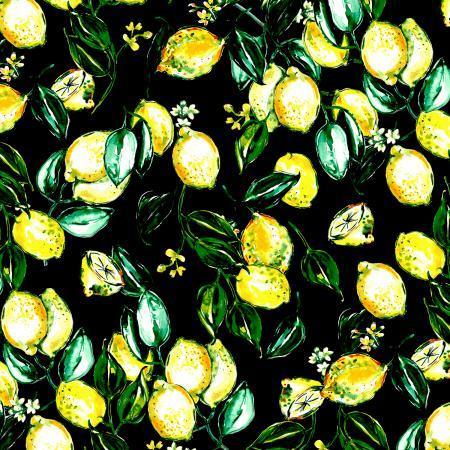 RJR Citrus Garden Lemons - Black (Min order 1 meter)