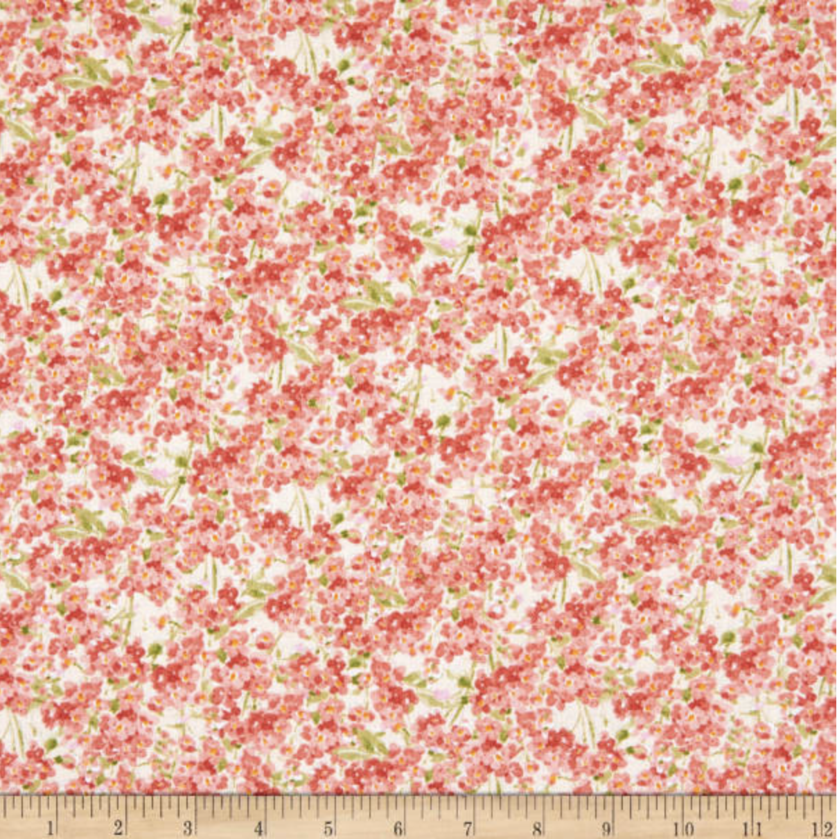 Wilmington Sketchbook Garden Blooms - Coral  (min. order 1 m)