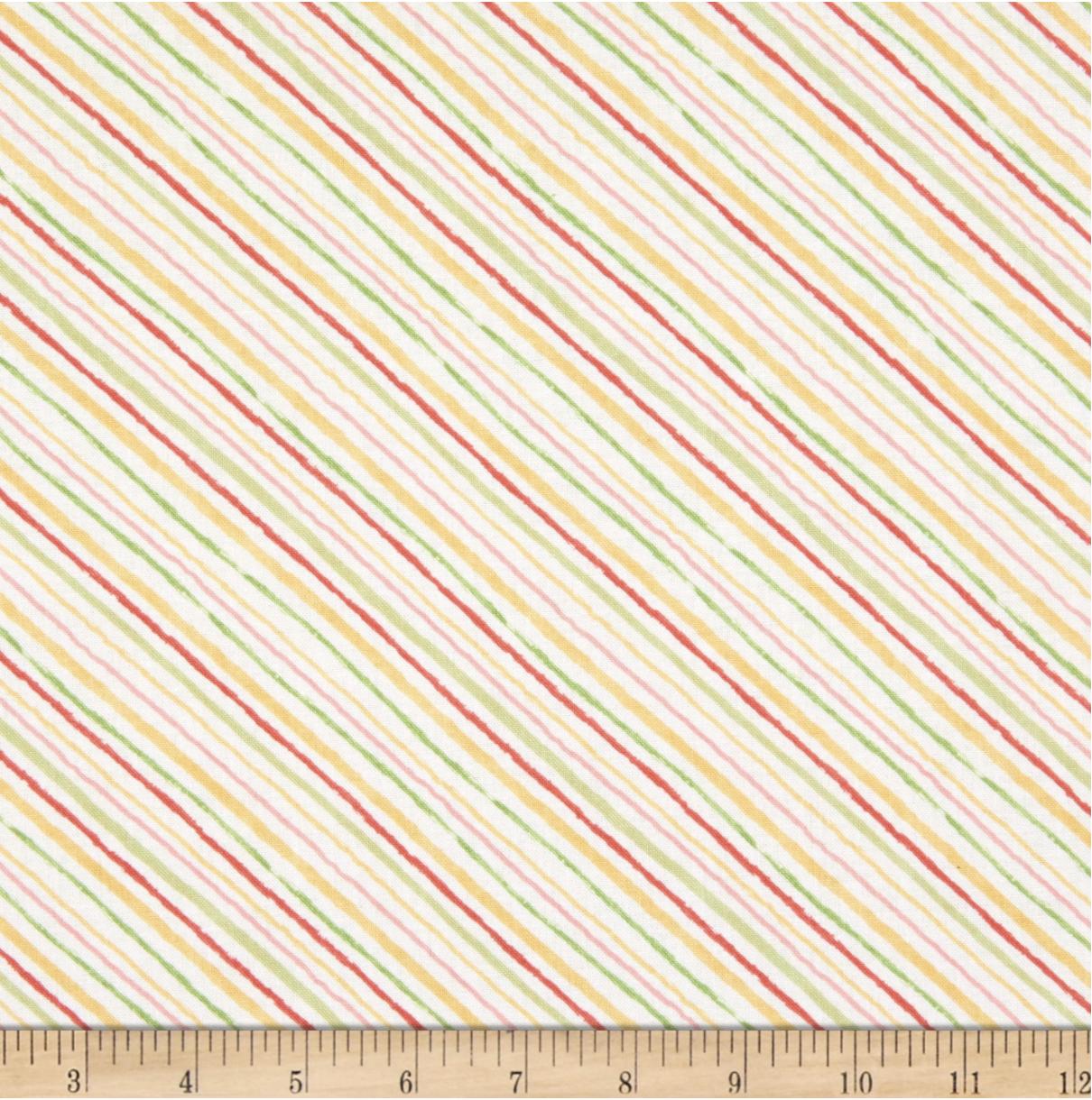 Wilmington Sketchbook Garden Stripe - Cream  (min. order 1 m)