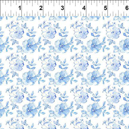 In The Beginning The Leah Collection Linear Flowers - White/Blue