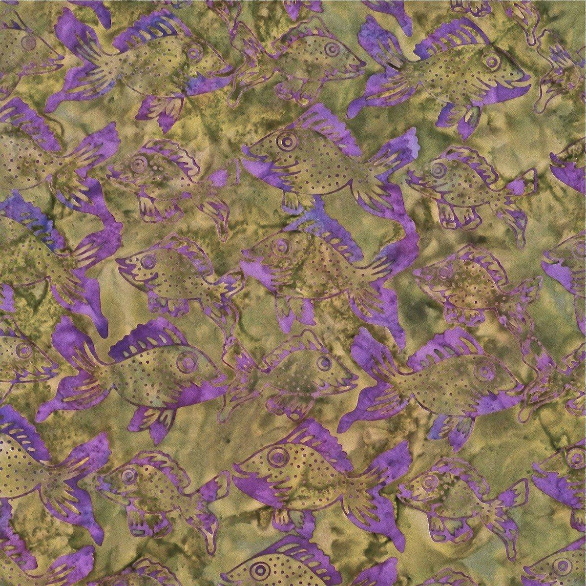 Batik by Mirah Coastal Bloom Fish - Olive (Min order 1m)