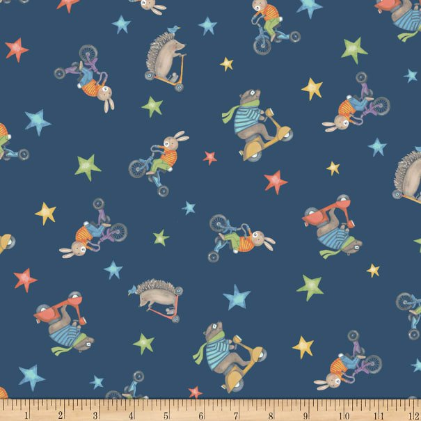 Clothworks Bike Ride Animals Riding Scooters and Trikes - Navy (0.35 m remnant)