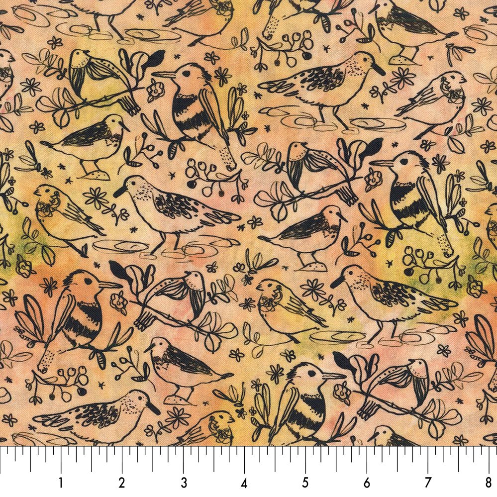 Dear Stella Woodland Fairytale Birds - Peach/Green (0.95m  remnant)