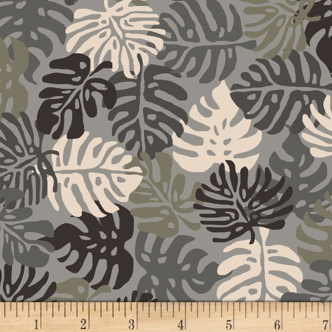 Stof Blooming Garden Fern Leaves - Grey (Min Order of 1m)