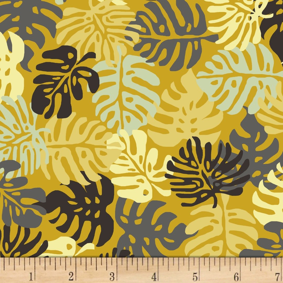 Stof Blooming Garden Fern Leaves - Yellow (Min Order of 1m)