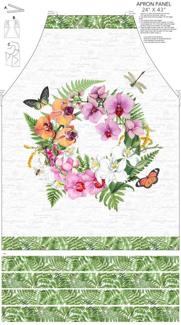 Northcott Orchids in Bloom Apron Panel (Canvas) - White Multi