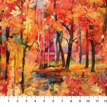 Northcott September Morning Trees - Red Multi