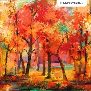 Northcott September Morning Landscape - Red Multi