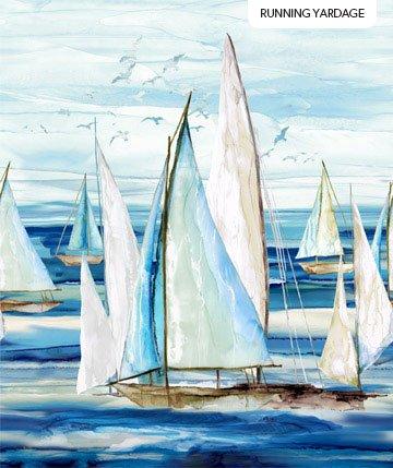 Northcott Sail Away Continuous Panel Boats - Indigo Multi