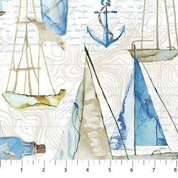 Northcott Sail Away Large Boats - Cream Multi