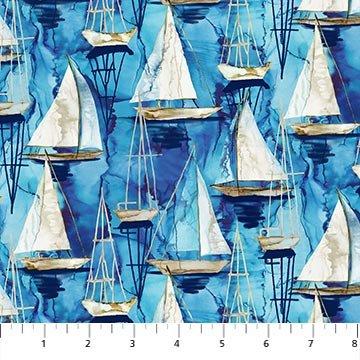 Northcott Sail Away Small Boats - Indigo Multi (0.5 m remnant
