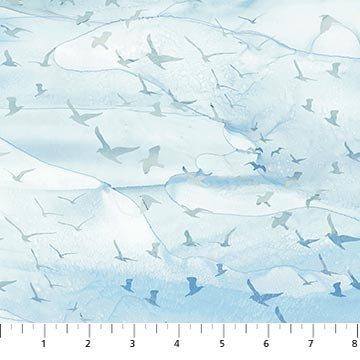 Northcott Sail Away Birds - Blue