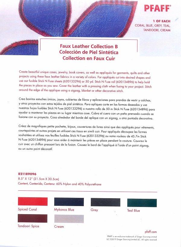 PFAFF Faux Leather Kit B - 8.5x12, 6 Pack