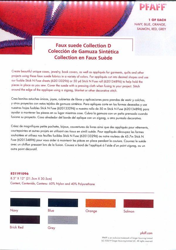 Pfaff Faux Suede Kit D - 8.5x12, 6 Pack