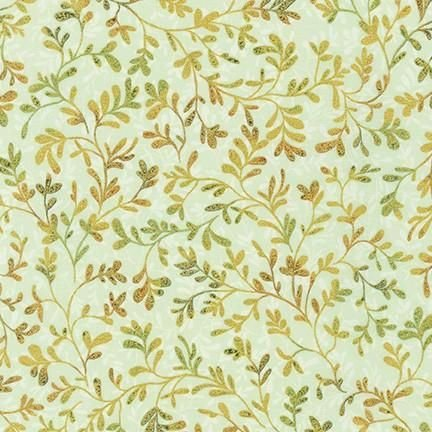 Robert Kaufman Fiorella Sprigs- Leaf (Gold Metallic)