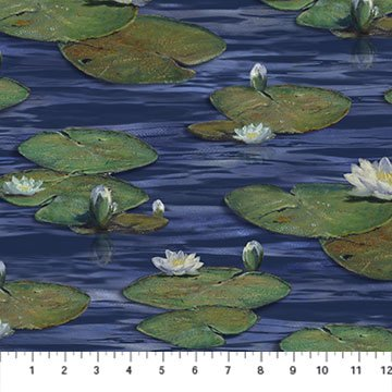Northcott The Great Blue Water Lilies - Navy Multi