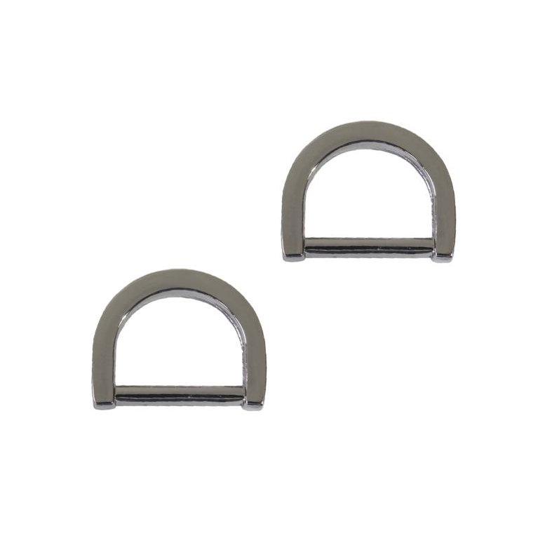 1/2 Flat D-Ring - Gun Metal,  Set of 2