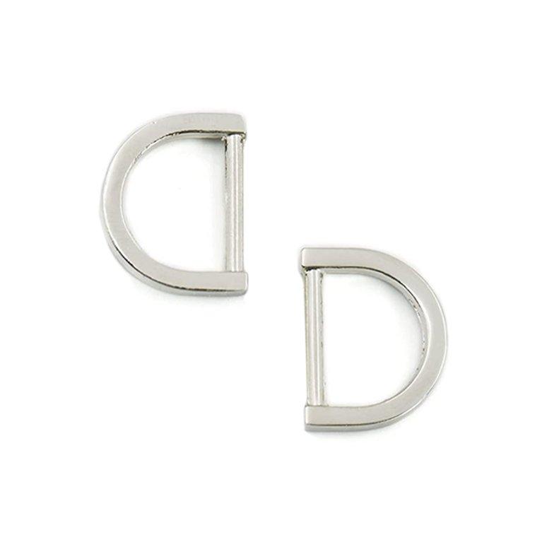 1/2 Flat D-Ring - Nickel, Set of 2