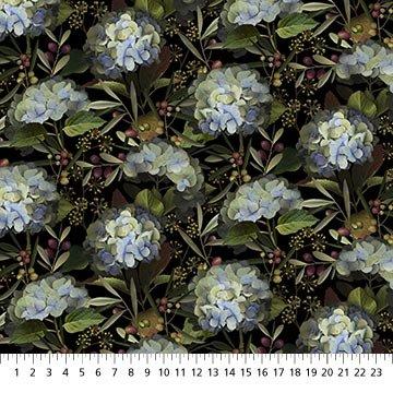 Northcott Harlow Hydrangea and Berry - Black Multi