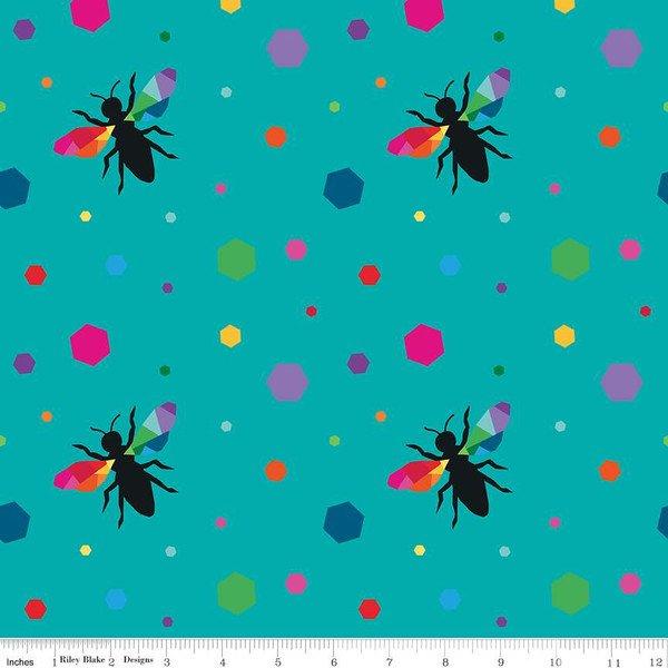 Riley Blake Create Hexie Bees - Turquoise