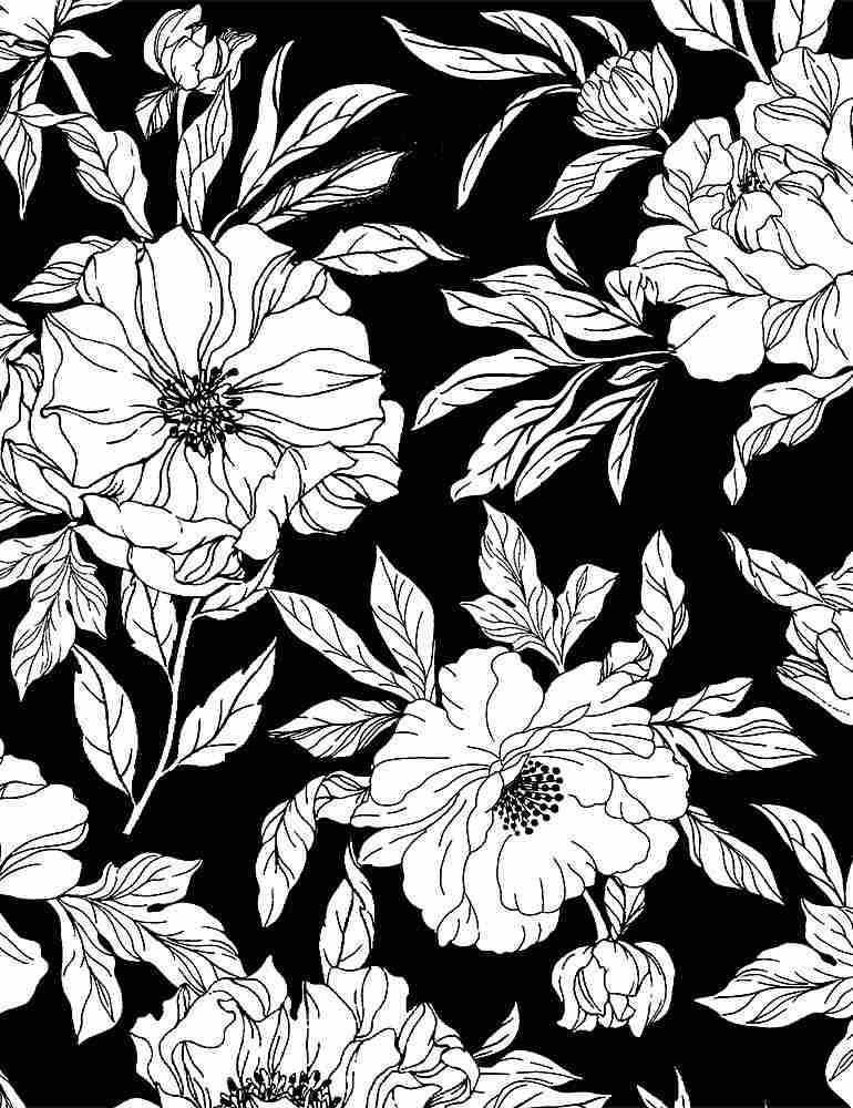 Timeless Treasures Inked Drawn Tossed Floral - Black/White