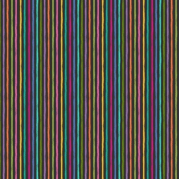 Makower Katie's Cats Stripe - Charcoal