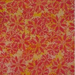 Batik by Mirah Mist Flowers - Orange (0.3m remnant)