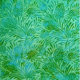 Batik by Mirah Mocktail Pineapple - Blue and Green (0.3m Remnant)