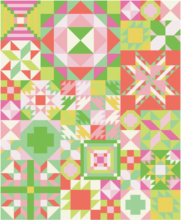 My Favorite Color Is Moda Sampler Quilt Kit - Primrose Garden