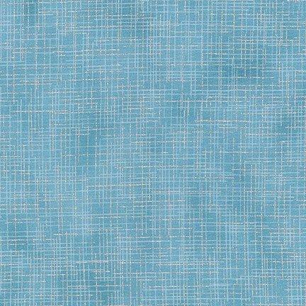 Robert Kaufman Quilter's Linen Metallic - Blue/Silver (Metallic)