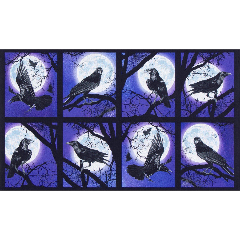 Robert Kaufman Raven Moon Panel Ravens - Gum Drop