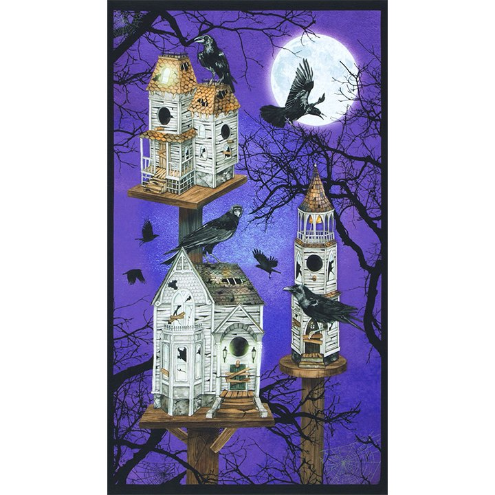 Robert Kaufman Raven Moon Panel Haunted Birdhouse - Gum Drop