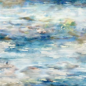 Hoffman Shoreline Stories Digital Watery Texture - Dusty Blue