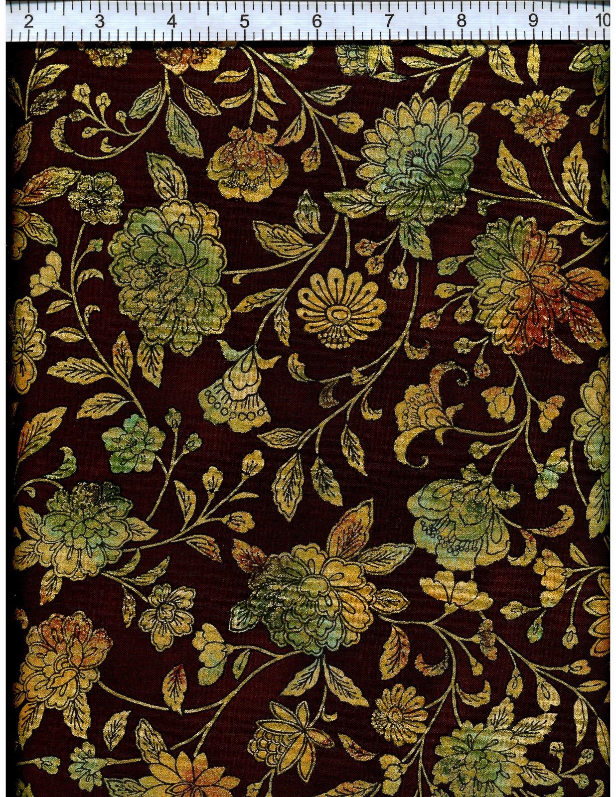 Robert Kaufman Fiorella Floral - Copper (Gold Metallic)