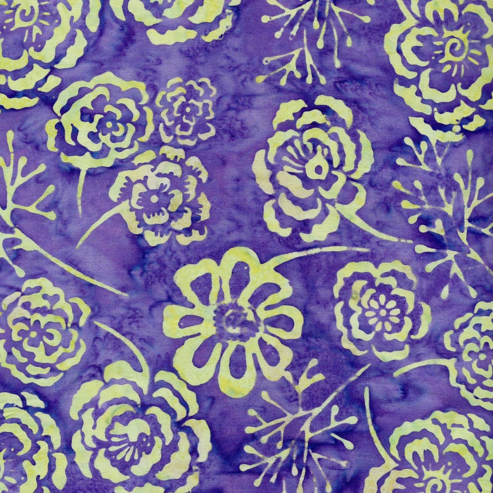 Batik by Mirah Sunset Bloom Flowers - Purple/Green (Min order 1m)