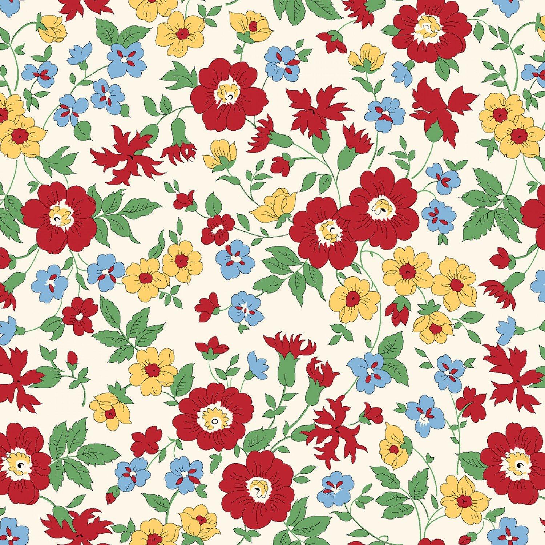 MF-Aunt Grace's Apron (1930's Reproduction) 0751-0142 White - Wild Flowers