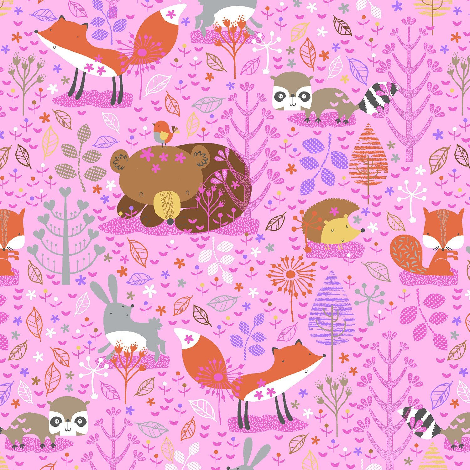 AE-Comfy Flannel Print 0909-22 Pink Forest Animals