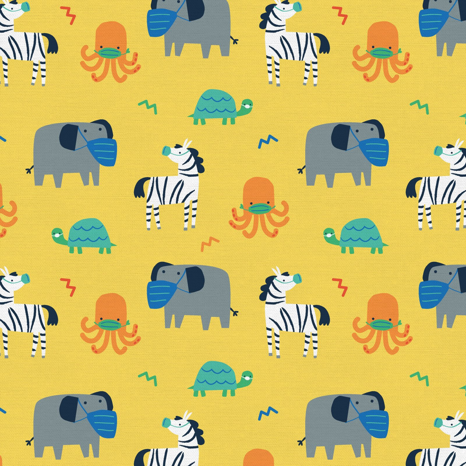 PROMO* PS-Mask Up! 120-21768 Yellow - Elephant Zebra Turtle Octopus