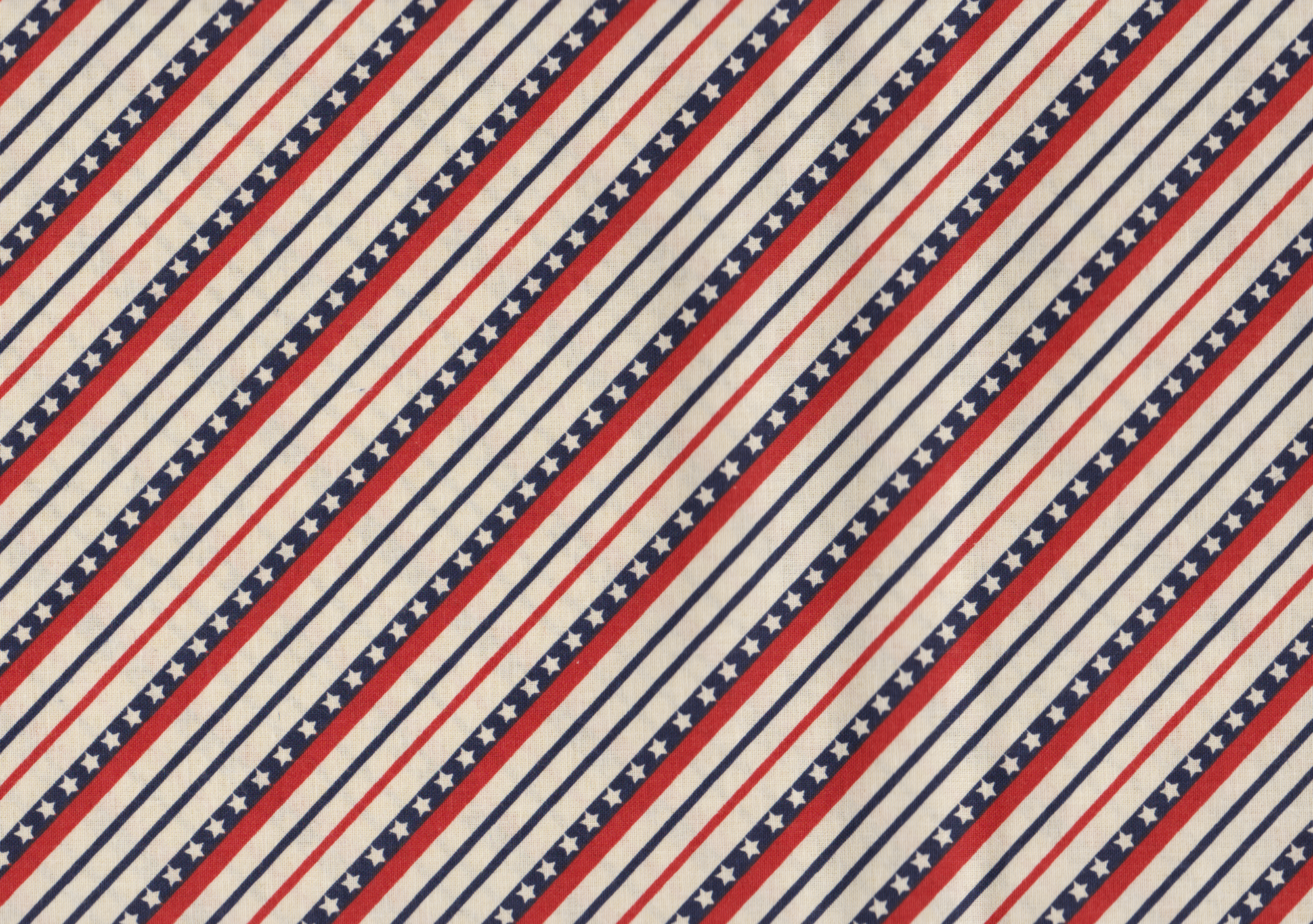 PROMO* FT-Patriotic Prints 12557 Cream - Bias Star Stripe