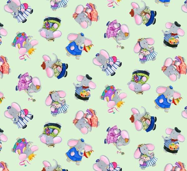 PROMO* ES-Elephant Friends 17007 Jade - Tossed Elephants