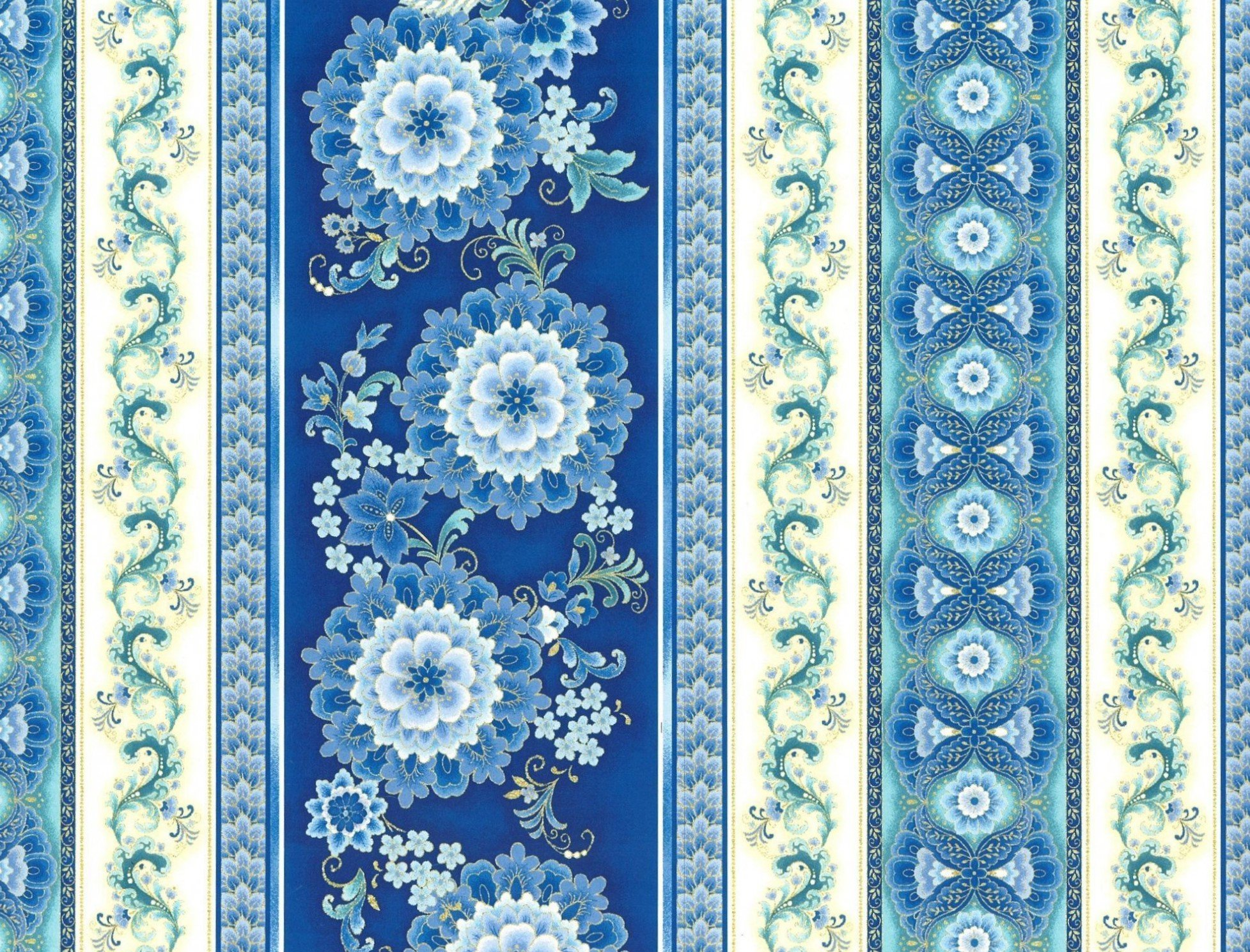 PROMO* HF-Keepsake Calico 1700-02 Blue Floral Stripe